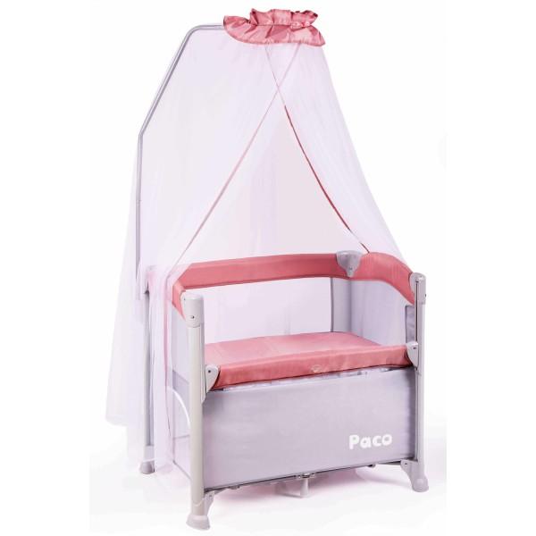 Paco 便攜式床邊嬰兒床 - 櫻花粉
